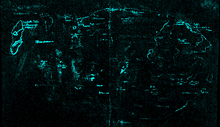 A scan revealing the presence of titanium throughout the map's lines and text.