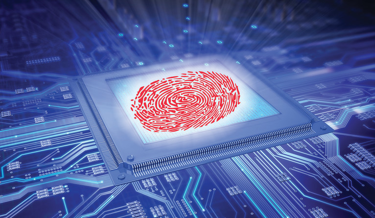 An illustration of a red fingerprint in the center of a computer chip.