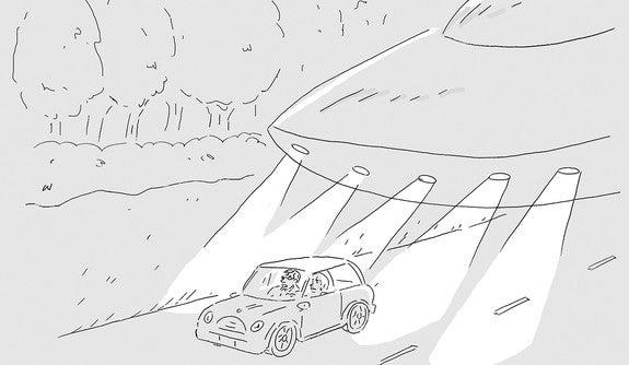 An cartoon depicting a flying saucer tailgating a car.