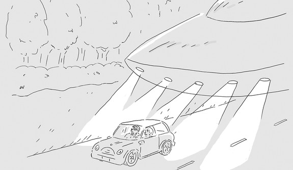 An cartoon depicting a flying saucer tailgating a car.