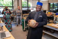 President of Sierra Leone Julius Maada Bio makes music at the Center for Engineering, Innovation and Design.
