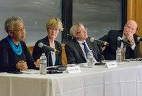 Barbara Fields, Allison Stanger, Erwin Chemerinsky, and Howard Gillman on a Free Speech panel.