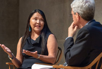 Dr. Patricia Nez Henderson talks on stage with Yale President Peter Salovey.