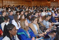 Yale College undergraduates sitting in a lecture hall