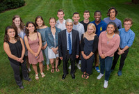 President Salovey poses with some of the incoming Yale undergraduates from New Haven Public Schools.