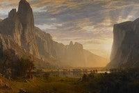 """Looking Down Yosemite Valley, California,"" (1865) by Albert Bierstadt, located at the Birmingham Museum of Art."