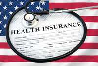 A graphic incorporating a health insurance form and the American flag.