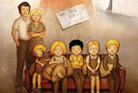 A film poster depicting five seated children and their parents, standing behind them.