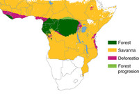 A map of central and southern Africa detailing areas of deforestation.