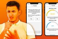 A man coughing next to a screenshot of the Hunala app