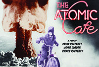 """Poster from the documentary """"The Atomic Cafe,"""" depicting a boy on a bicycle with a nuclear blast in the background."""