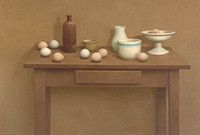 Still life painting of household objects on a table.