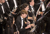 Musicians in the Yale Concert Band performing.