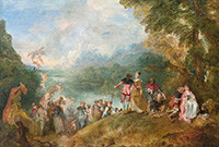 """A painting, """"The Embarkation for Cythera,"""" by Jean-Antoine Watteau."""