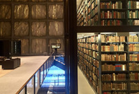 A photo of the book stacks in Beinekce Rare Book & Manuscript Library.