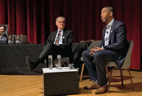 David Blight and Ta-Nehisi Coates on stage at the Yale University Art Gallery.