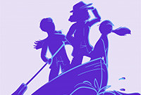 A stylized image of three silhouetted figures in a boat.