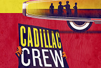 """A stylized graphic of the rear end of a car and a sign, """"Cadillac Crew,"""" held up by two hands."""