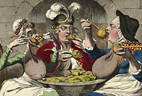 A caricature by James Gillray, depicting the Prince of Wales feasting with two women.