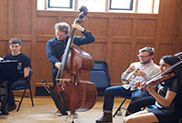 Members of a chamber orchestra performing.