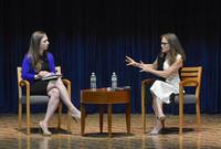 Chelsea Clinton (left) in conversation with author Randi Epstein at the Yale School of Medicine.