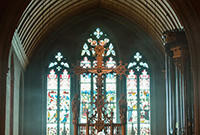 Photo of stained glass windows of Christ Church, New Haven, from the interior.
