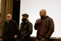 John Lucas, Richard Poochie Roderick, and Donovan Harris lead a Q and A at the Whitney Center at Yale.
