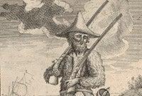 A woodcut of Robinson Crusoe.