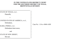 The tile page from an amicus brief listing plaintiffs and defendets in a case concerning DACA rights for immigrant children.