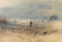 A painting by Turner of people on a beach, with a sailling ship in distress in the sea in the background.
