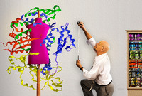 A tailor measures a dress dummy surrounded by models of human protein strands as seen under a microscope.