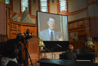 Video screening at Vincent Scully memorial
