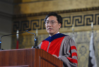 Marvin Chun delivering readings at the 2018 Yale Baccalaureate award ceremony.