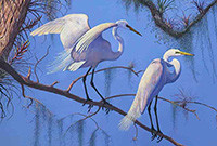 A painting of two egrets on a tree branch.