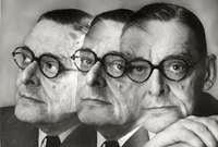 A montage of headshots of poet T.S. Eliot.
