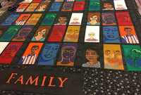 """Portraits by nine Timothy Dwight College affiliates of family members who have supported them are featured in the """"Family"""" quilt"""