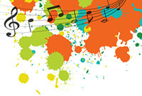 A stylized graphic incorporating mulitcolored paint blotches and musical notes.