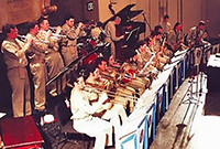 Yale Band musicians in WWII army uniforms in performance.