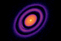 An image of a protoplanetary disk, from the Atacama Large Millimeter/submillimeter Array telescope in Chile.