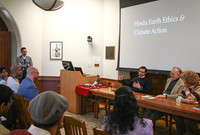 A panel discussion underway during The Hindu Earth Ethics and Climate Action conference at Yale. (Photo by Andy Lee)