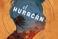 An abstract poster depicting a hurricane and a woman's profile.