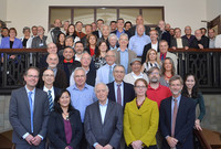 Students, associates, collaborators, colleagues, and friends of Francesco Iachello posing at a symposium in his honor at Yale.