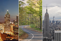 A collage of the Atlanta skyline, a forest road in Michigan, and the Manhattan skyline.