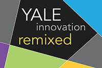 "A logo of mixed colors with the words ""Yale Innovation Remixed."""