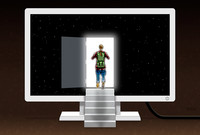 An illustration of a woman with exploration gear entering an open door in a computer monitor.