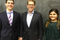 Jay Carney with Yale students on April 9, 2018.
