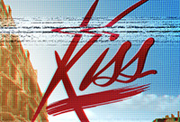 """A poster depicting the stylized word """"Kiss"""" against a blue sky."""