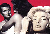 A poster for the movie 'L'Avventura,' depicting two female characters and a male character.