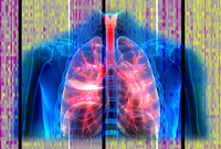A grapic representation of human lungs in front of data sets.
