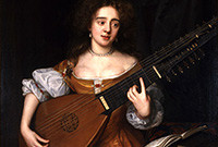 Painting of a woman playing a lute.